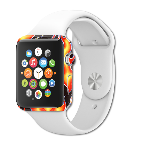 MightySkins Protective Vinyl Skin Decal for Apple Watch Series 1 42mm iWatch cover wrap sticker skins Hot Flames