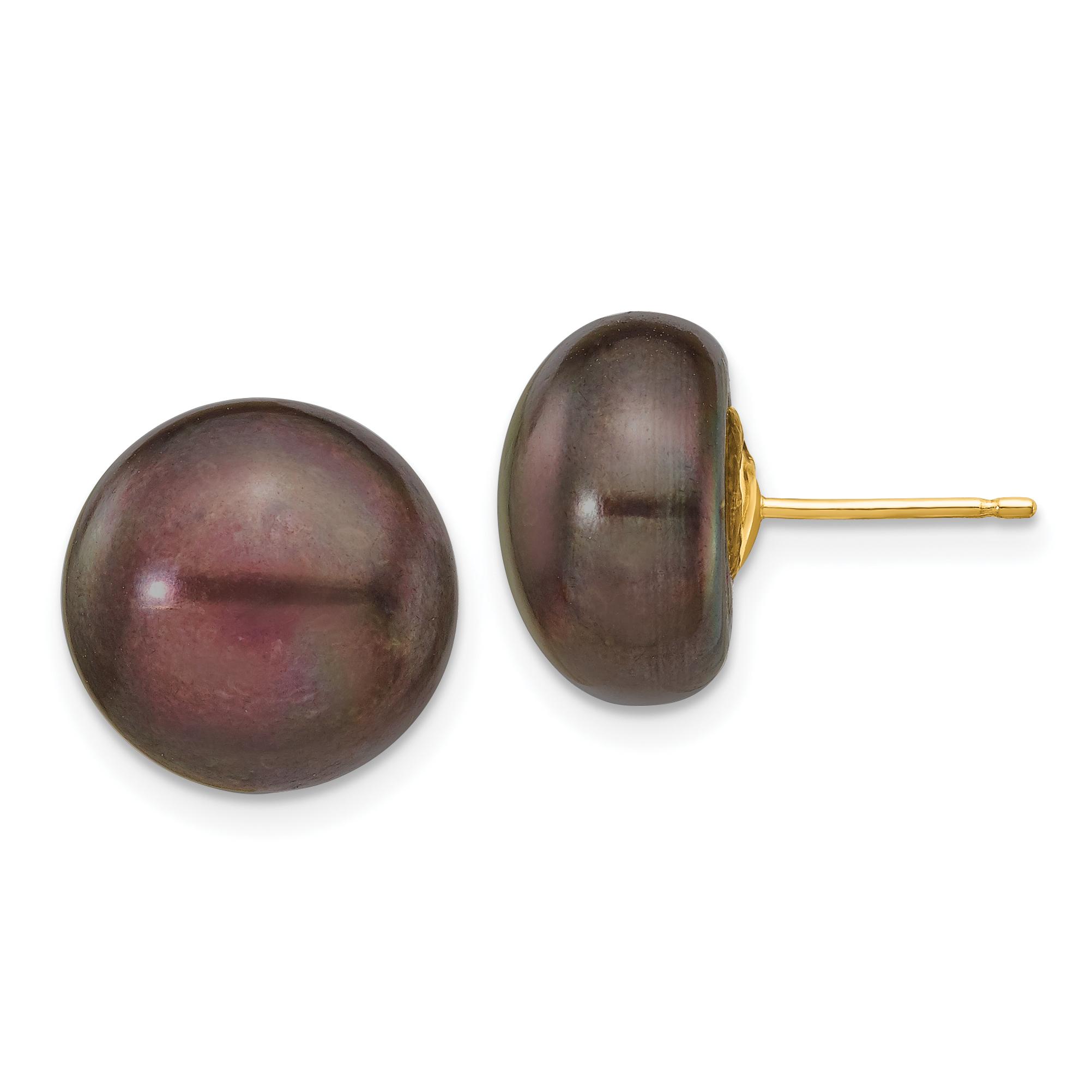 14K Yellow Gold 12-13mm Black Button FW Cultured Pearl Stud Earrings - image 2 de 2