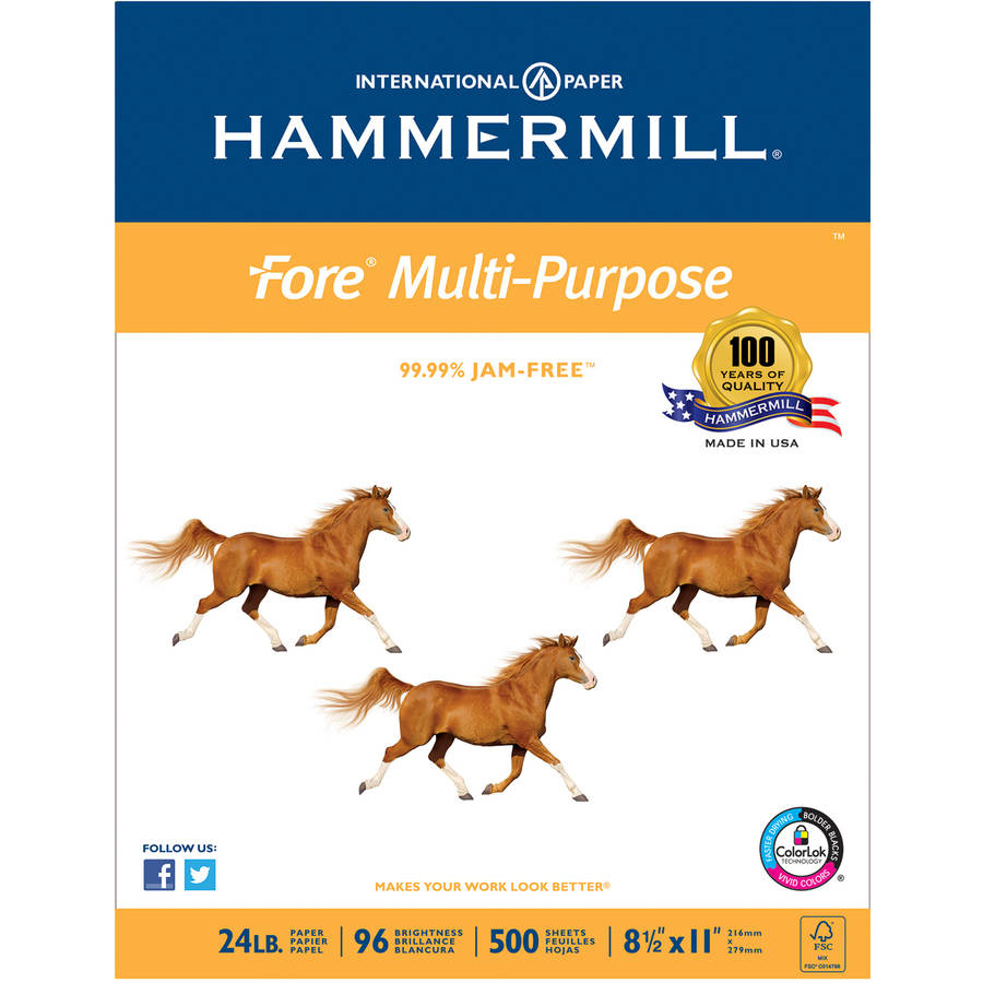 Hammermill Fore MP Multipurpose 24lb Paper, 96 Brightness, 8-1/2 x 11, 10 Ream/Case (500 Sheet/Ream)