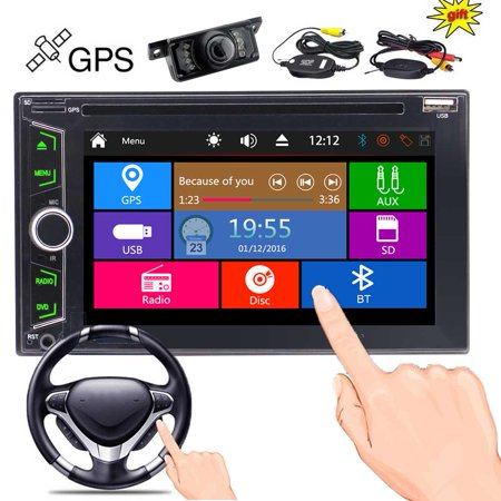 Wireless Rear Camera + EinCar Double Din Car DVD Player in Dash GPS Navigation 2 Din Autoradio Bluetooth FM/AM Radio Tuner Car Deck Audio Video System Automotive Stereo Head Unit Aux USB SD Win