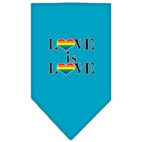 Love is Love Screen Print Bandana Turquoise Large