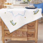 Herrschners®  Blue Roses & Daisies Table Topper Stamped Embroidery Kit