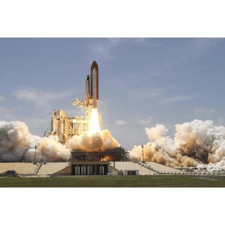 Space shuttle Atlantis lifting off from Launch Pad 39A at the Kennedy Space Center in Florida Poster Print