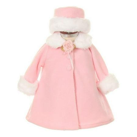 Kids Dream Pink Fleece Faux Fur Collar Stylish Coat Baby Girl - Faux Fur Coat For Girl