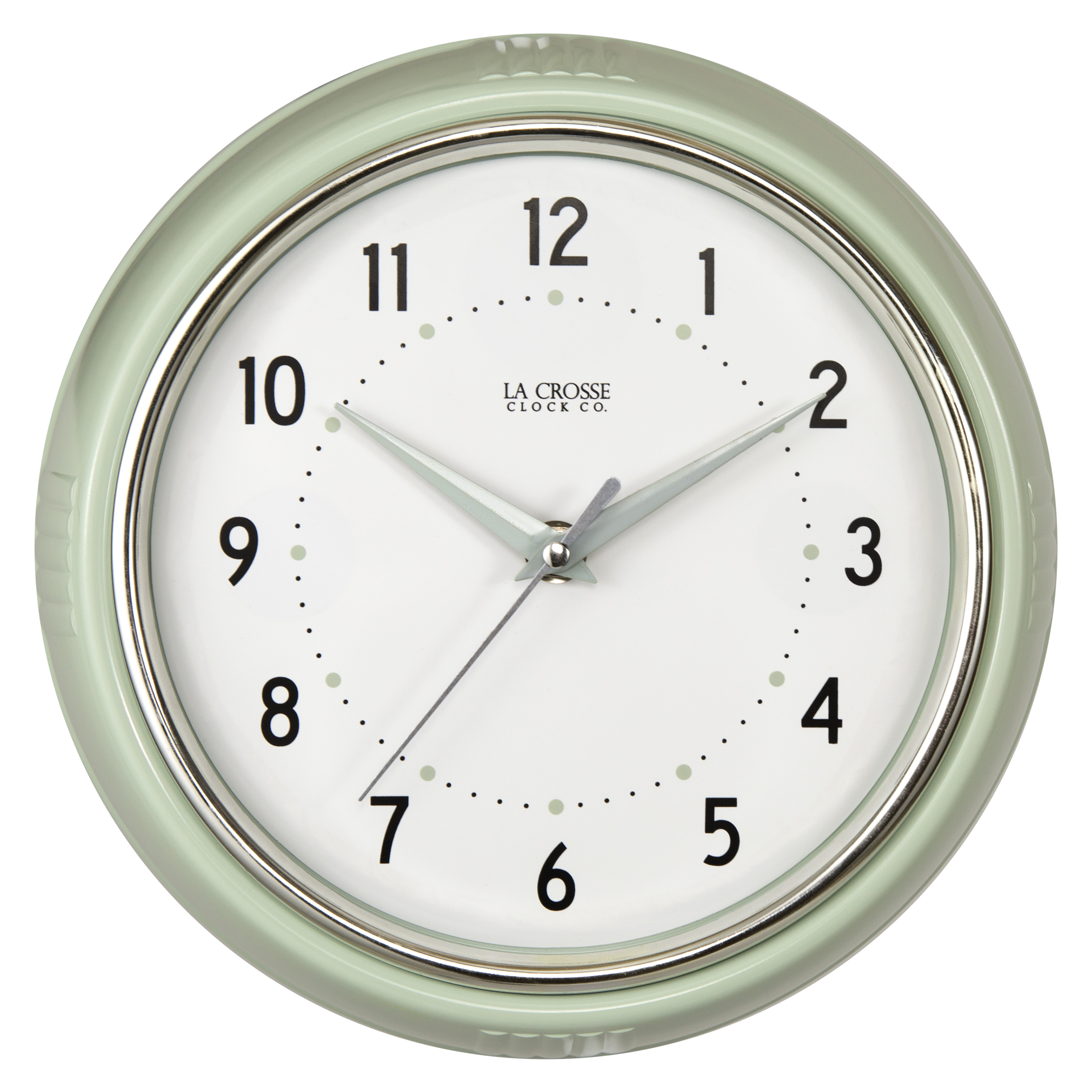 "La Crosse Clock 404-3024PH 9.5"" Retro Diner Pistachio Colored Analog Wall Clock"