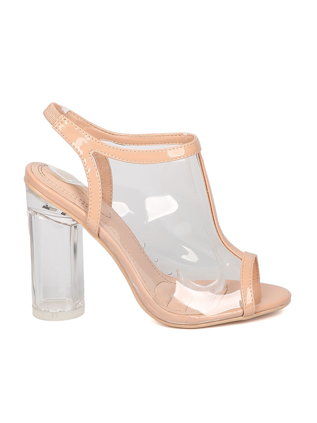 Women Lucite Slingback Mule - Party, Dressy, Formal - Peep Toe Block Heel - GE47 By Alrisco