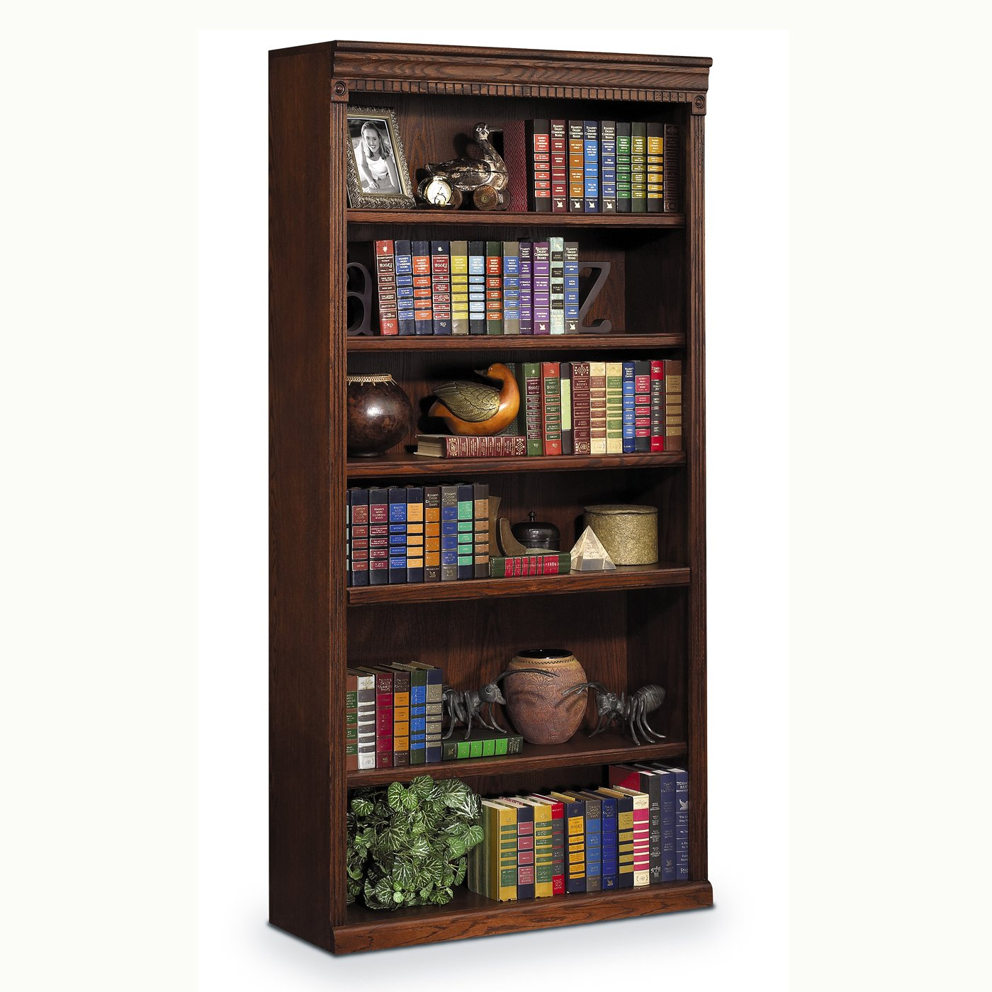 "Kathy Ireland Home by Martin Huntington Oxford 6 Shelf 72"" H Wood Bookcase in Burnish"