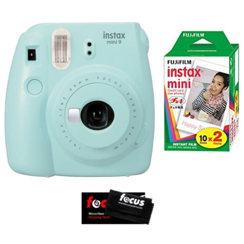 Fujifilm Instax Mini 9 Instant Film Camera (Ice Blue) + Color Film (20 Sheets)