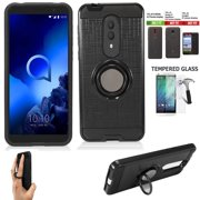 Phone Case For Tracfone Alcatel TCL A1X Prepaid Smartphone/ TCL A1X Case  / Revvl-2 Case +Screen Protector with Shock Absorbing Cover Ring-Holder (Slim Ring Black +Tempered Glass)