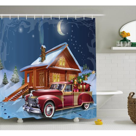 Christmas Shower Curtain Set, Wooden Lodge with Classic American ...