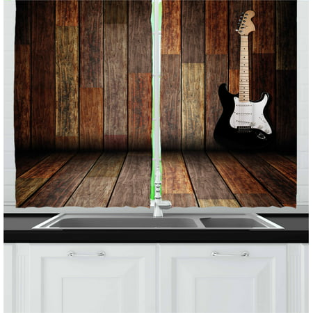 Popstar Party Curtains 2 Panels Set, Electric Guitar in the Wooden Room Country House Interior Music Theme, Window Drapes for Living Room Bedroom, 55W X 39L Inches, Brown Black White, by Ambesonne - High Efficiency Electric Panel
