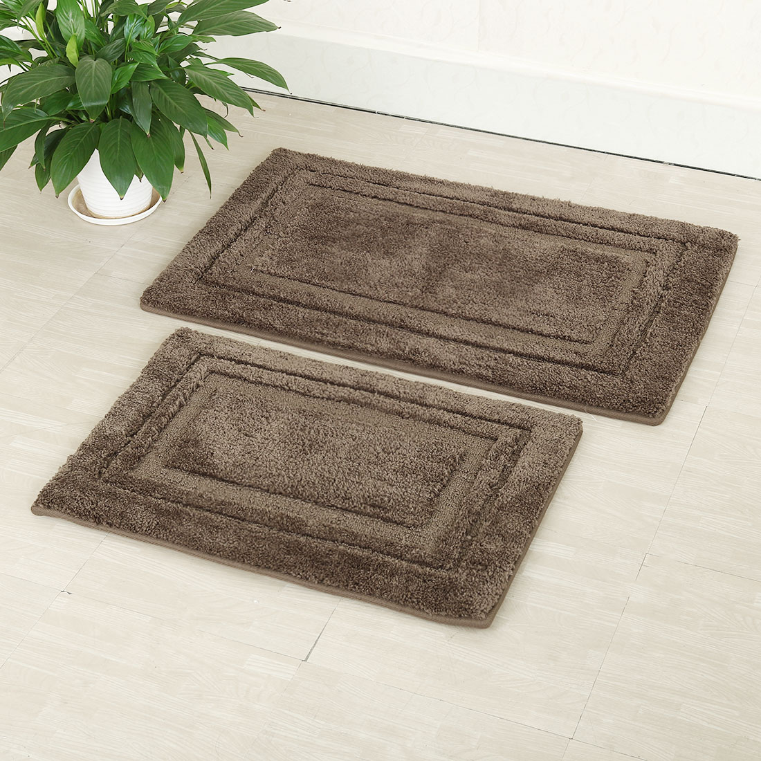 Click here to buy 2-Piece Non-slip Bath Rug Set Bath Mat Bathroom Rugs.