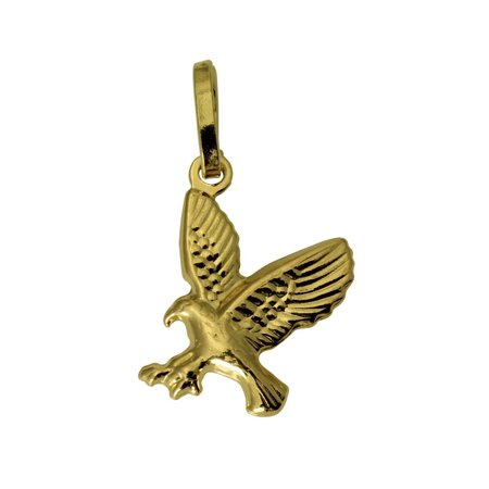 14K Real Yellow Gold 3D Puffed Hollow Small Eagle Charm Pendant Small Eagle Charm
