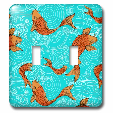 Fish Arts And Crafts (3dRose Arts and Crafts Style Koi Fish in Water - Double Toggle Switch)