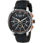 Mens Chronograph Stainless Watch - Black Leather Strap - Black Dial - PT3515