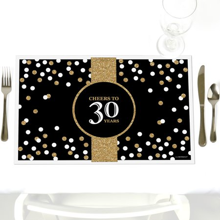 Adult 30th Birthday - Party Table Decorations – Gold Birthday Party Placemats - Set of - 30th Birthday Decorations