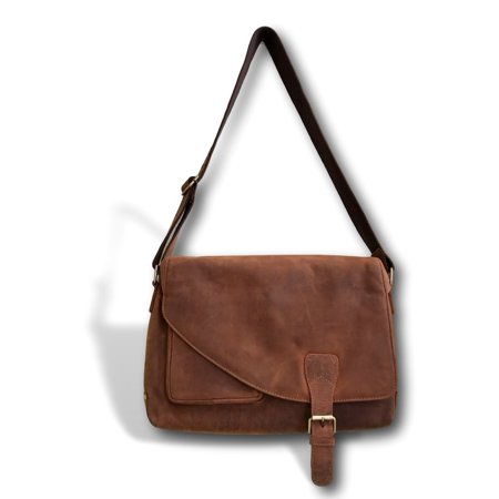 "Genuine Soft Leather Messenger Bag | Handmade 16"" Classic Leather Crossbody Bag by Kauri Design"