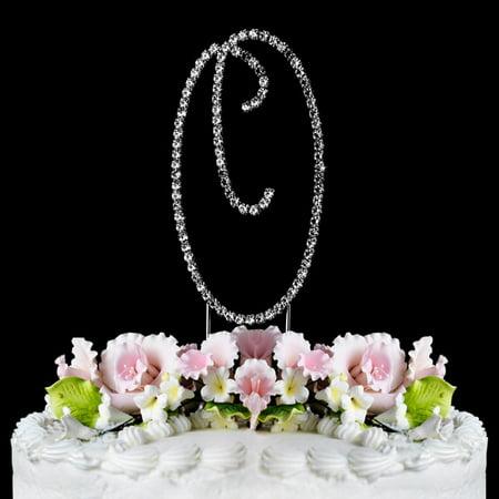 Crystal Monogram - Yacanna Swirl Design Crystal Monogram Cake Toppers Silver Cake Initial O Large