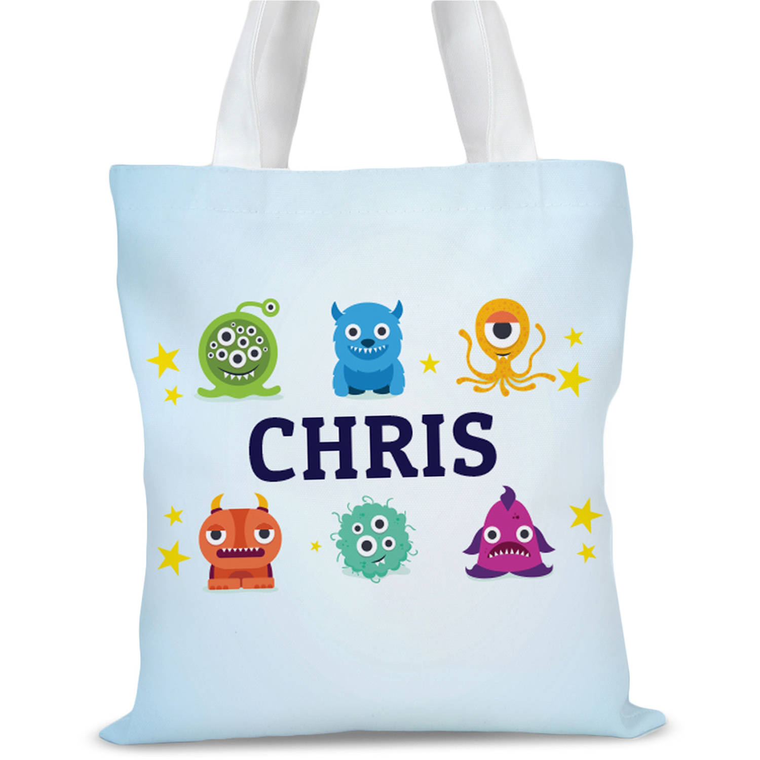 """Little Monsters Personalized Kids Tote Bag, Sizes 11"""" x 11.75"""" and 15"""" x 16.25"""""""