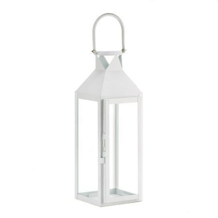Candle Lanterns Decorative White, Rustic Wrought Metal Candle Holder Lantern (Sold by Case, Pack of 4)](White Metal Lanterns)