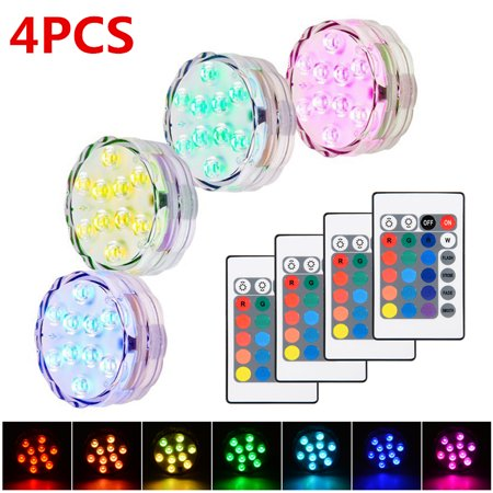 4 PCS Submersible LED Lights Waterproof RGB Colors Remote Control Wireless Vase Light for Party Wedding Pool Fountain Garden (Party Fountain)