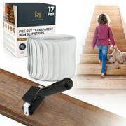 "High Standards Non Slip Clear Stair Treads (17 Pack) - 24"" x 4""Adhesive Pre Cut Anti Slip Grips - Durable Peva Material"
