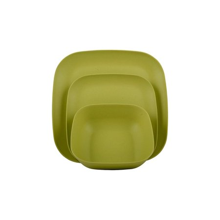 Melange 12-Piece Bamboo Dinnerware Set (Squares Collection) | Shatter-Proof and Chip-Resistant Bamboo Plates and Bowls | Color: Lime Green | Dinner Plate, Salad Plate & Soup Bowl (4 (Square Bamboo Collection)