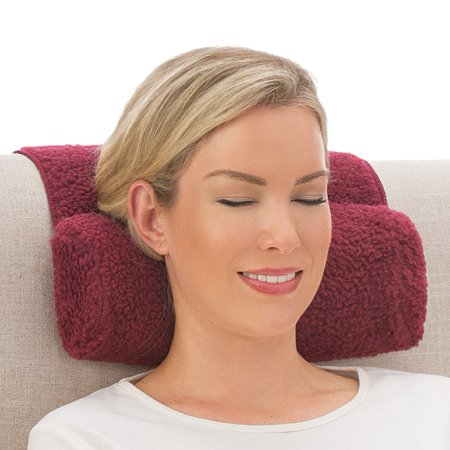 Collections Etc Adjustable Neck Roll Support Plush Pillow, Burgundy