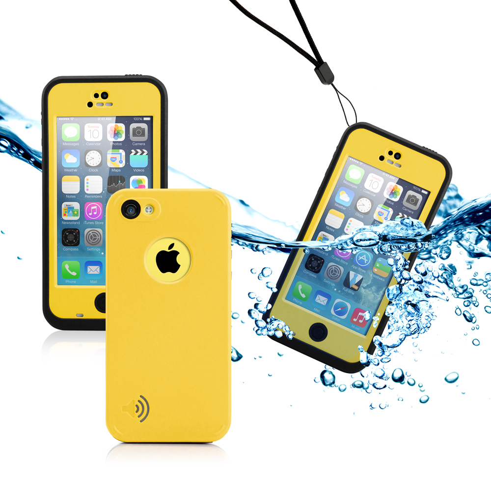 GEARONIC Newest Durable Waterproof Shockproof Dirt Snow Proof Case Cover for iPhone SE & 5C - Yellow