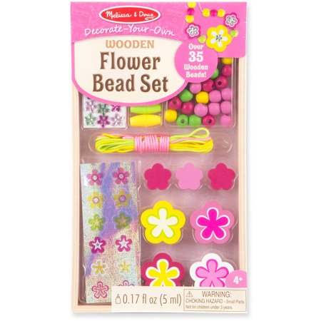 melissa doug decorate your own wooden flower bead jewelry making