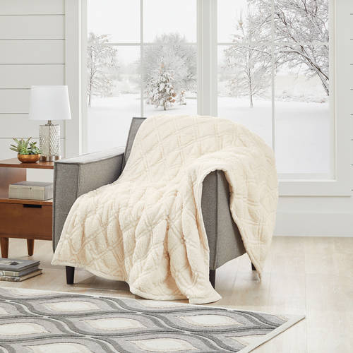 Better Homes and Gardens Quilted Sherpa Throw Blanket, Ivory