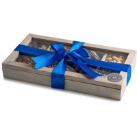 The Nuttery Holiday Gift WOODEN TEA BOX-CHOCOLATE AND (Tea Box- Blue Bow)