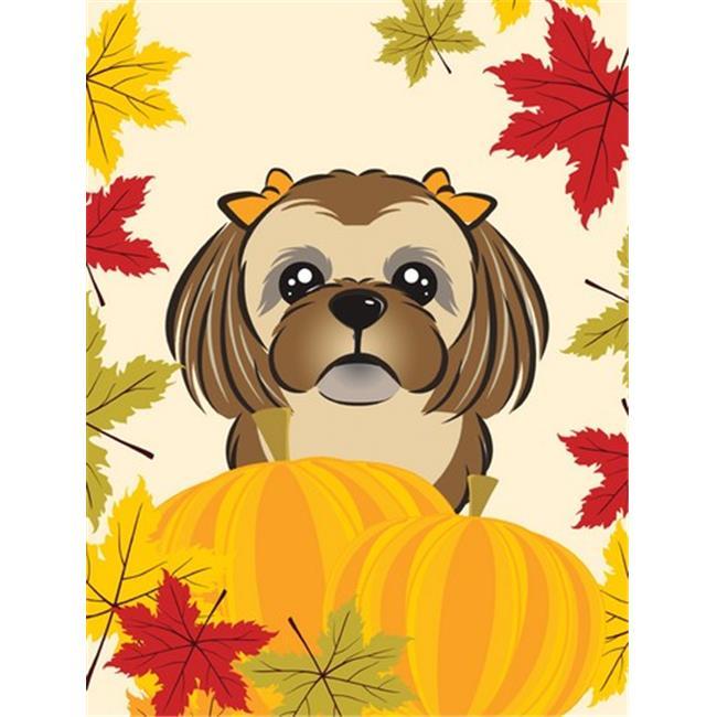 Chocolate Brown Shih Tzu Thanksgiving Flag Garden