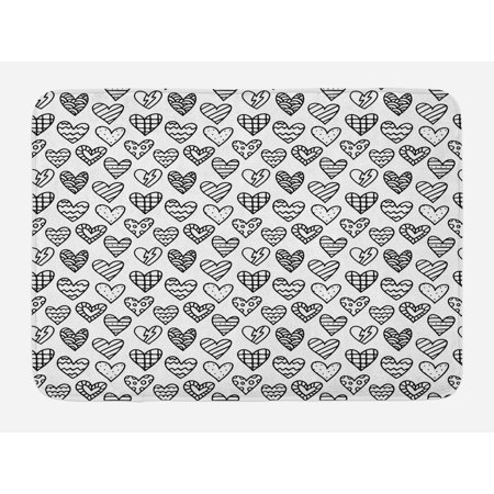 Valentine S Day Bath Mat Black And White Pattern With Outline Doodle Hearts Love Theme Non Slip Plush Bathroom Kitchen Laundry Room