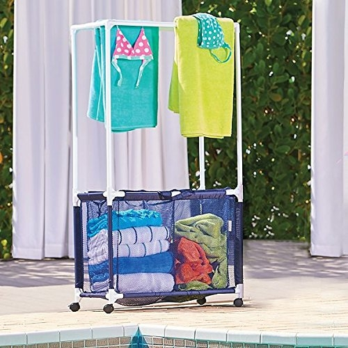 Rolling Pool Toy Storage Bin and Hamper with Towel Bar
