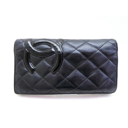 Quilted Lambskin Single Flap (Cambon Quilted Lambskin Ligne Yen Bifold Long Wallet 233090 Black Leather)