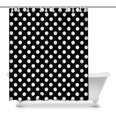 MKHERT Girly Polka Dots in Black and White Home Decor Waterproof Polyester Fabric Shower Curtain Bathroom Sets 60x72 inch