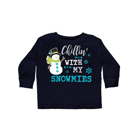 Chillin Snowman - Chillin with my Snowmies with Snowman Clip Art Toddler Long Sleeve T-Shirt