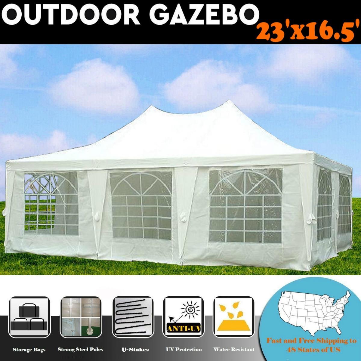 23'x16.5' White Wedding Party Tent Canopy Gazebo Heavy Duty Tent -