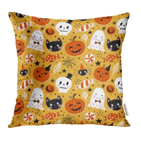 CMFUN Cute Halloween Holiday with Hand Drawing Pumpkin Ghost Cat and Skull Autumn Funny Pillow Case Pillow Cover 20x20 inch Throw Pillow Covers](Cute Halloween Ghost Sayings)