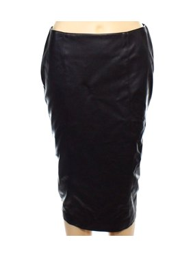 Alfani NEW Black Womens Size 4 Faux-Leather Straight Pencil Skirt