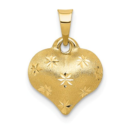 (14K Yellow Gold Satin & Diamond Cut Puffed Heart Pendant 16mm x 11mm)