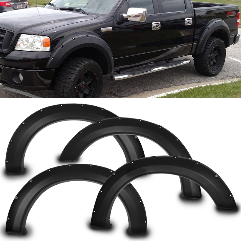 Fits 04-08 Ford F150 Pocket Rivet Style Fender Flares 4PCS Black - PP