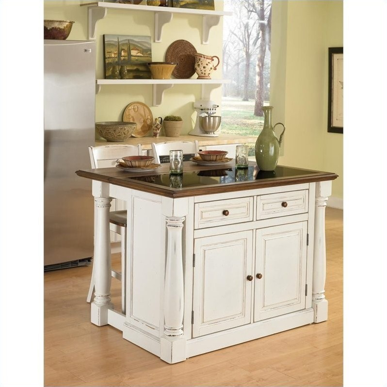 Home Styles Monarch Kitchen Island with Granite Top and Two Stools - image 2 de 2