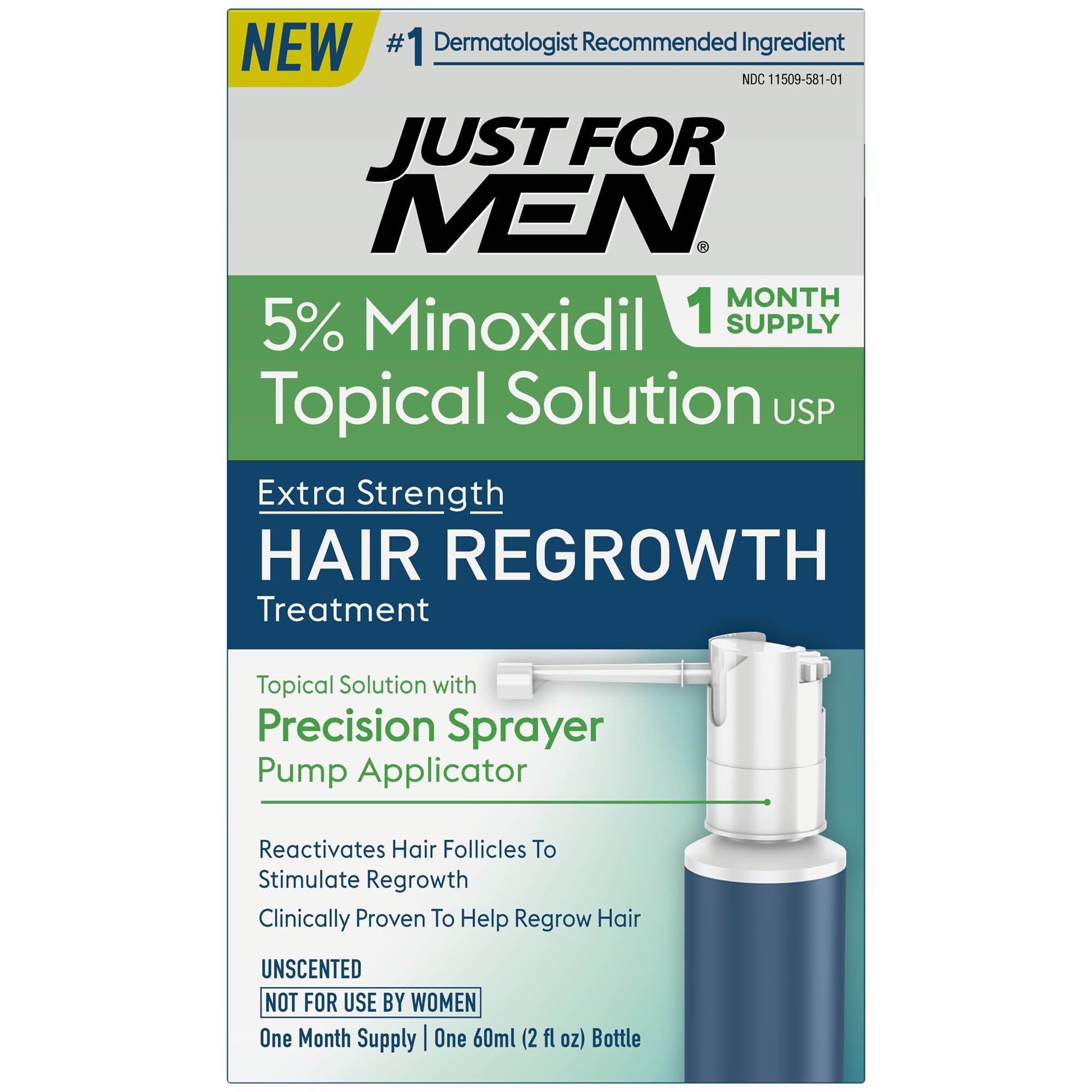 Just For Men Extra Strength Hair Regrowth Treatment, 5% Minoxidil Topical Solution USP, 1 Month Supply, 2 Fluid Ounce