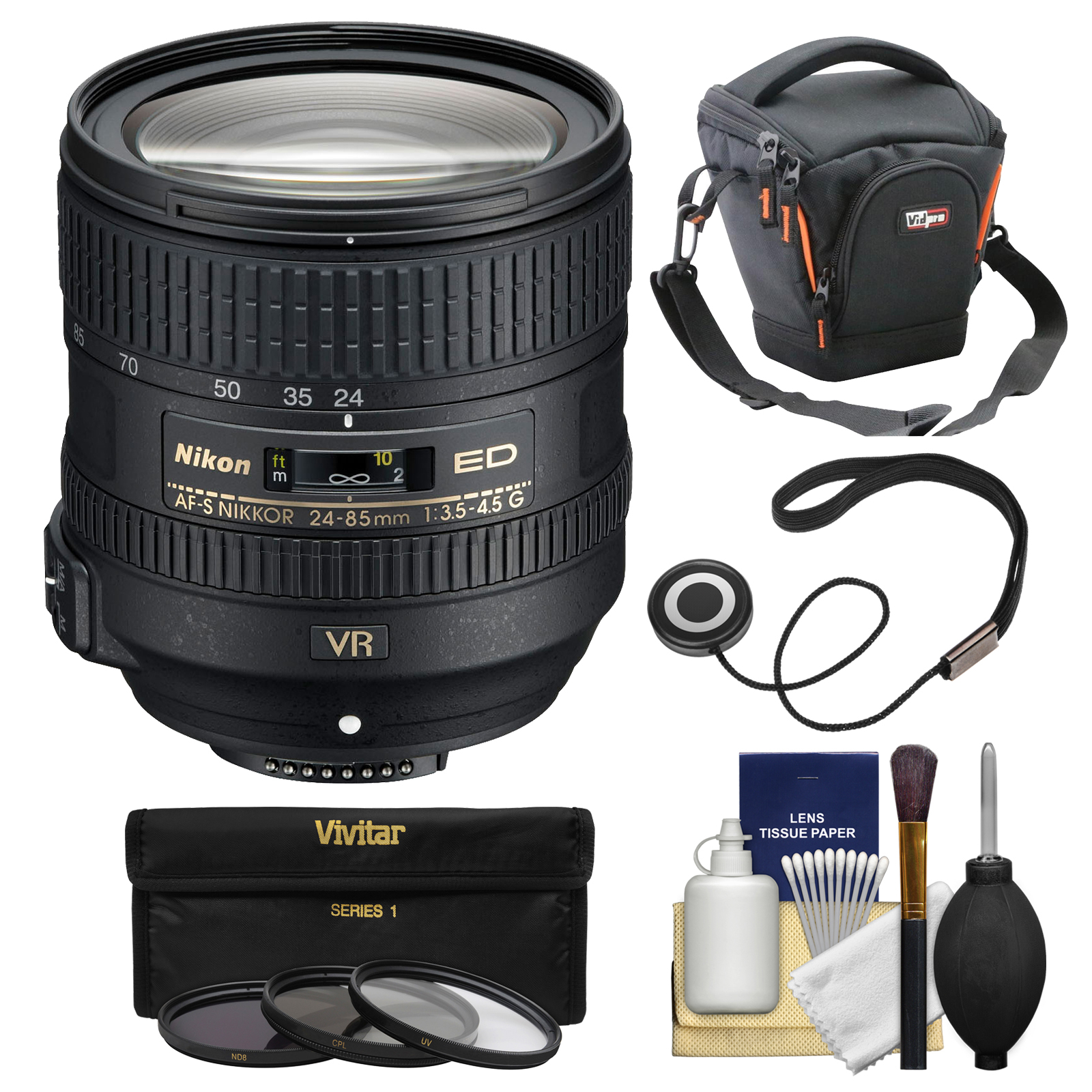 Nikon 24-85mm f/3.5-4.5G VR ED AF-S Nikkor-Zoom Lens + Case + 3 Filters Kit for D3200, D3300, D5300, D5500, D7100, D7200, D750, D810 Cameras