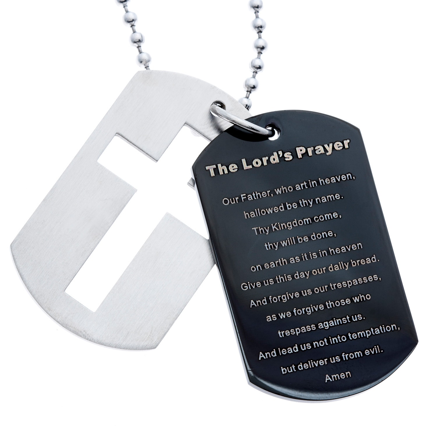 GLLC Stainless Steel and Black IP Dog Tag and Cross Lord's Prayer Necklace