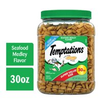 TEMPTATIONS Classic, Crunchy and Soft Cat Treats, Seafood Medley Flavor, 30 oz. Tub (Various Sizes)