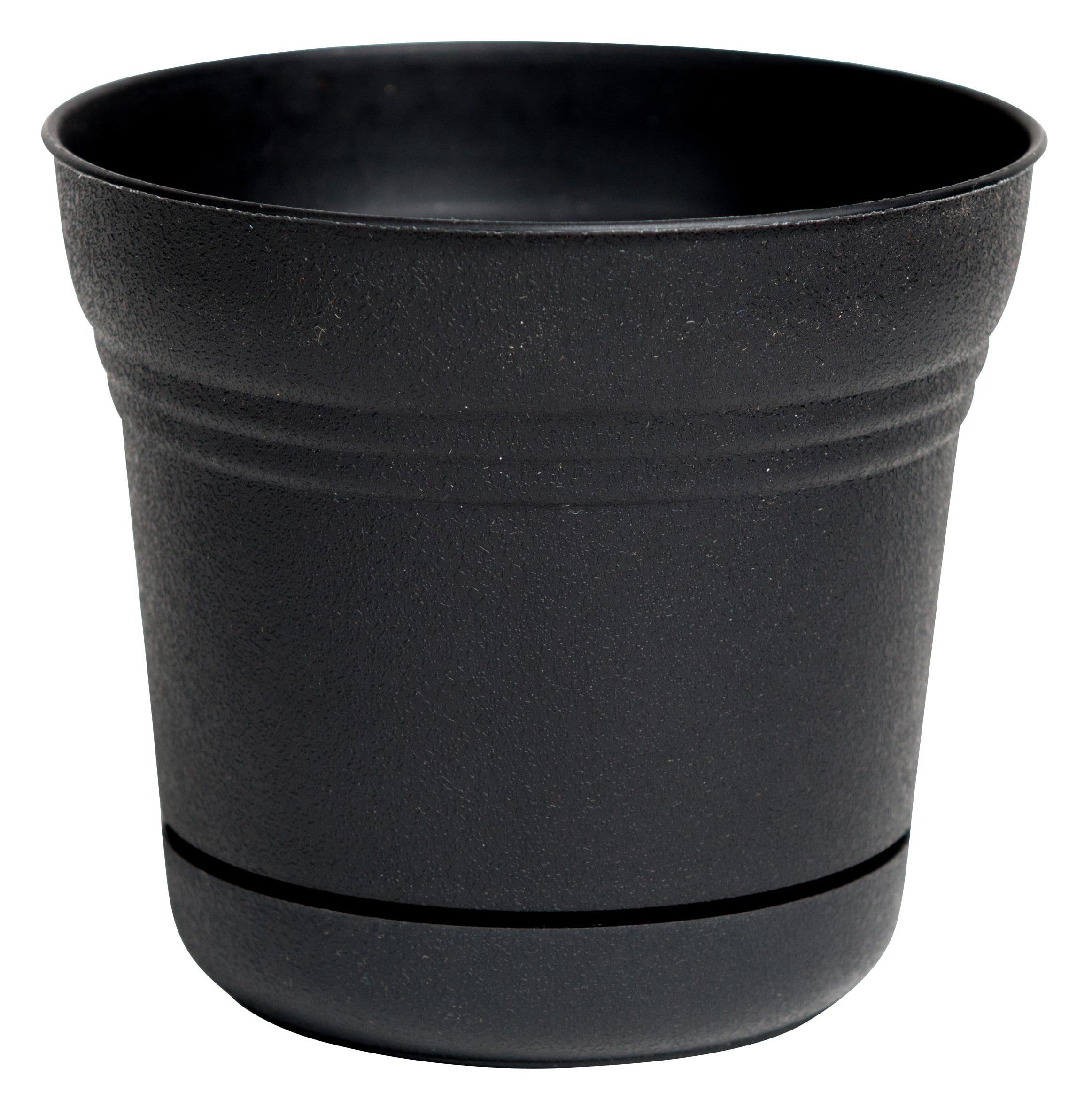 "Bloem Saturn Planter with Saucer 12"" Black"