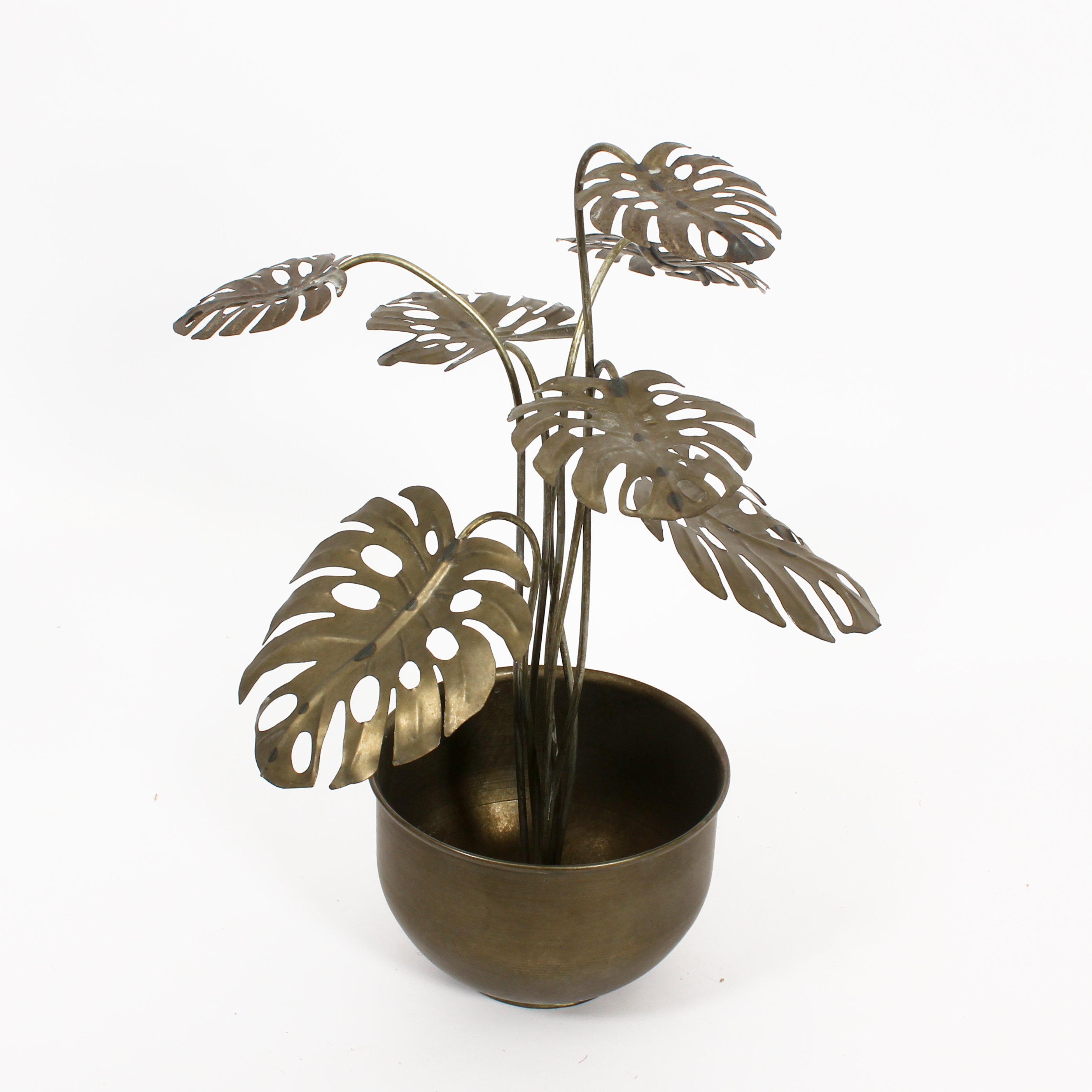 Metal Monstera Plant Leaf Stems In Pot Table And Floor Decor Walmart Canada
